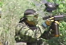 Darryl Trent shooting a full body early Autococker at the 1992 Store Wars III event at Paintball Hill, in Pope Valley California.