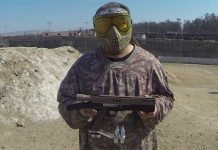 Jimmy Li of CCpaintball shows off his box gun.