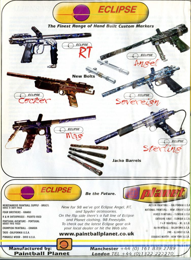 Eclipse Paintball Guns scanned from September 1998 PGI.