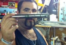 Tim at Paintball Tek Removes the stuck Smart Parts All American barrel from the Bo Peep Automag.
