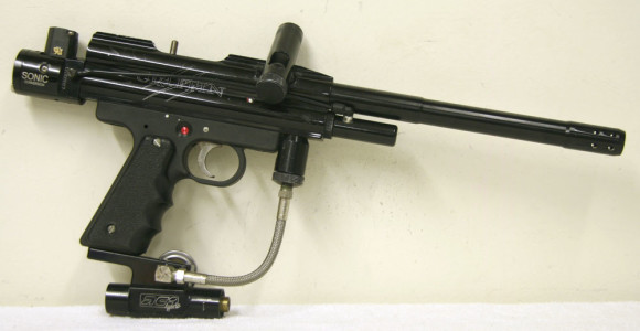 ACI Sonic Griffen, which was advertised in APG around 2000. The ACI/PGI Bottomline regulator is actual used on this paintgun.