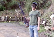 Dan airs up and shoots the FN-49 rifle, built in New Zealand in 1987.