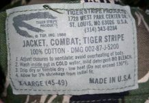 "Tags on inside of ""Advisor Cut"" Tiger Stripe jacket. Photo courtesy Chuck Link."