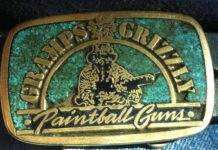 "Lou ""Gramps"" Grubb's Gramps and Grizzly belt buckle. With inlaid turquoise."