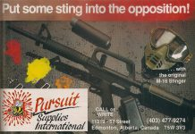 March 1990 scan from Paintball Sports International showing the M-16 Stinger and the PVC / ABS silencer.