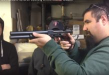 Tim Firpo of Paintball Tek demonstrates the pump action on the Master Blaster Elevator Gun.