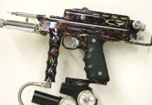 "Kapp rainbow splash 1998 Autococker. Left side. ""K"" engraved logo."