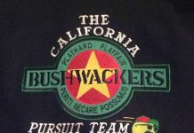 The California Bushwackers logo on the back of Bushwacker patch on the front of John Coleman's Bushwacker letterman jacket. Photo courtesy John Coleman.
