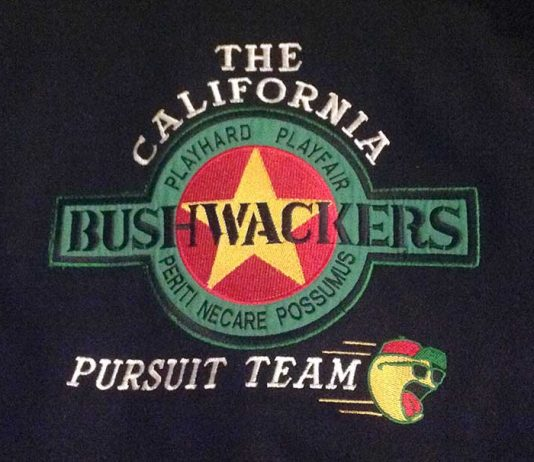 The California Bushwackers logo on the back of Bushwacker patch on the front of John Coleman's Bushwacker letterman jacket. Photo courtesy John Coleman.