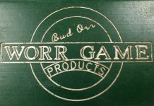 "Side engraving on this Autococker reads, ""Bud Orr Worr Game Products."""