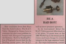 This article scan from the March 1996 issue of Paintball Sports International gives some more details on the early brass Rat valve..