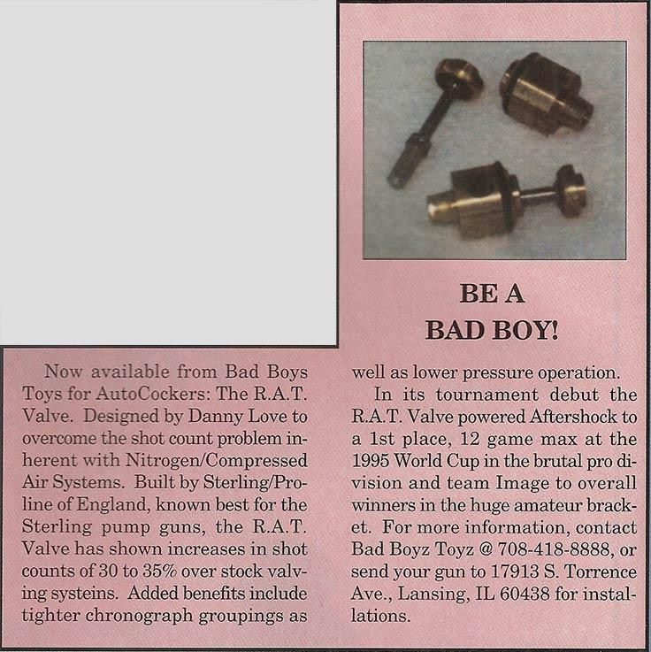 Bad Boyz Toyz Brass Rat Valve 1996 Paintball History