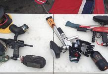 Palmer's Pursuit shop Pyre, a Freeflow and a WGP Team Dragoon Autococker.