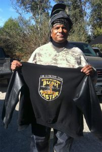 Gilly shows off his California Bushmasters team letterman jacket.