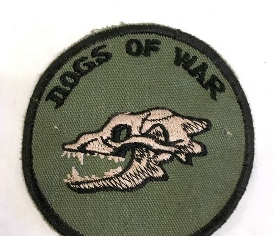 Dogs of War patch from Randy Kamiya. Likely c.1986.