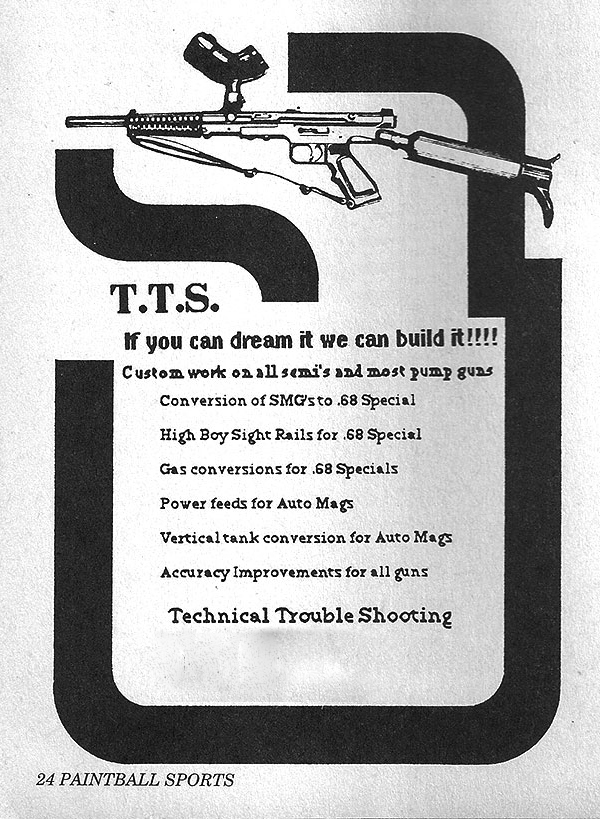 Technical Trouble Shooting advertisement from the February 1992 issue of Paintball Sports International. Incorrect Address/Phone removed.