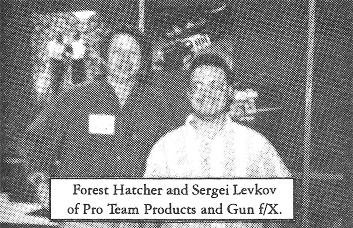 Sergey Levkov and Forest Hatcher at the 1995 Shot Show, pictured in the April 1995 issue of Inside Paintball Magazine. Magazine courtesy Randy Kamiya.