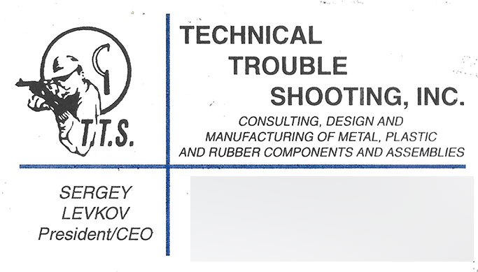 Technical Trouble Shooting business card. Old contact details blurred out.