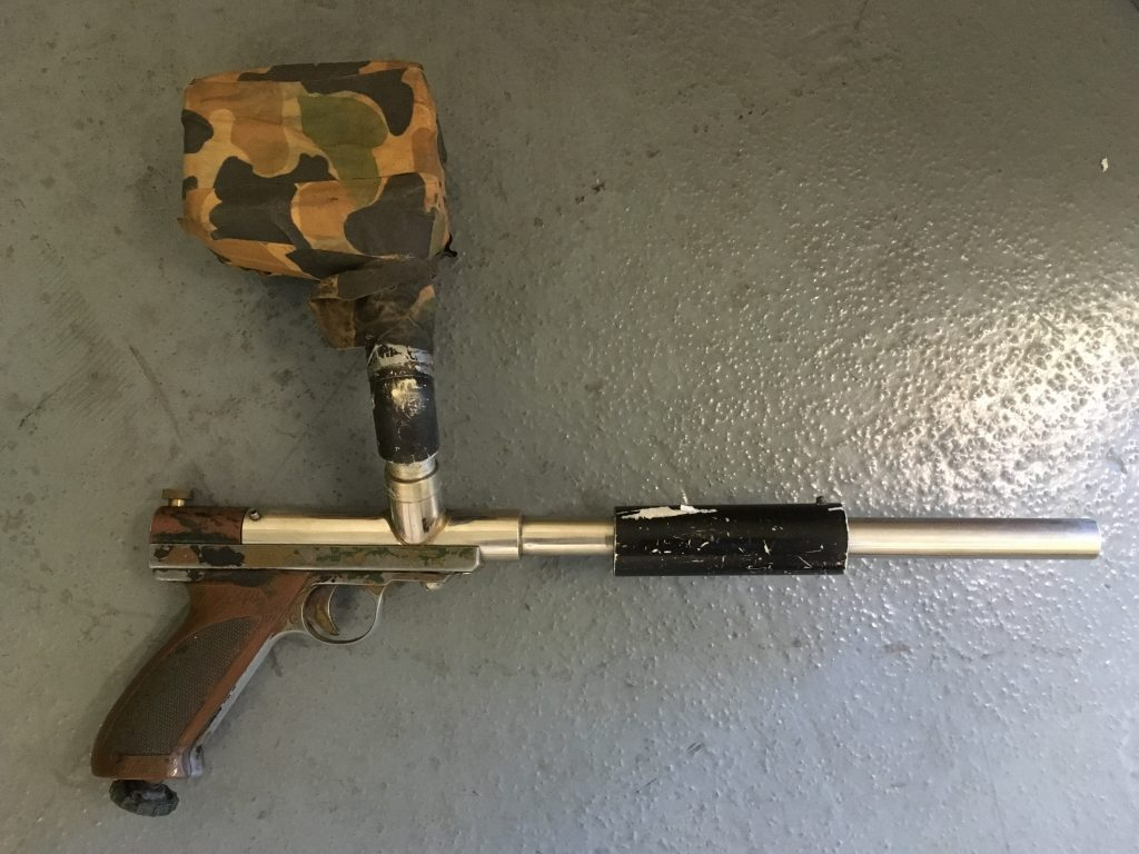 Right side of stainless unibody Nelson based pistol.
