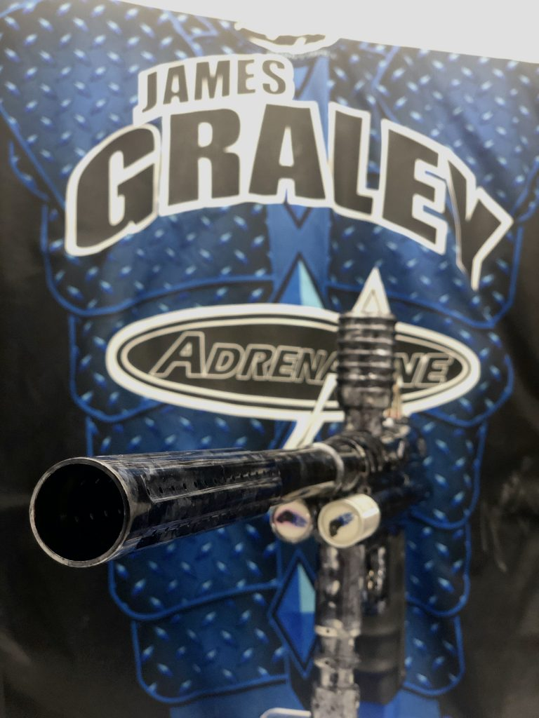 Feedneck and barrel view of Adrenaline Angel AA2, used by James Graley. Photo courtesy Christian Van Horn.