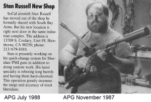 A scan from the November 1987 issue of Action Pursuit Games on Stanley Russell's shop.